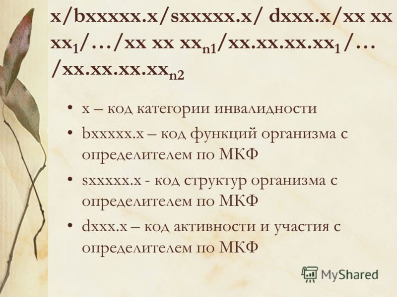 x – код категории инвалидности bxxxxx.x – код функций организма с определителем по МКФ sxxxxx.x - код структур организма с определителем по МКФ dxxx.x – код активности и участия с определителем по МКФ x/bxxxxx.x/sxxxxx.x/ dxxx.x/xx xx xx 1 /…/xx xx x