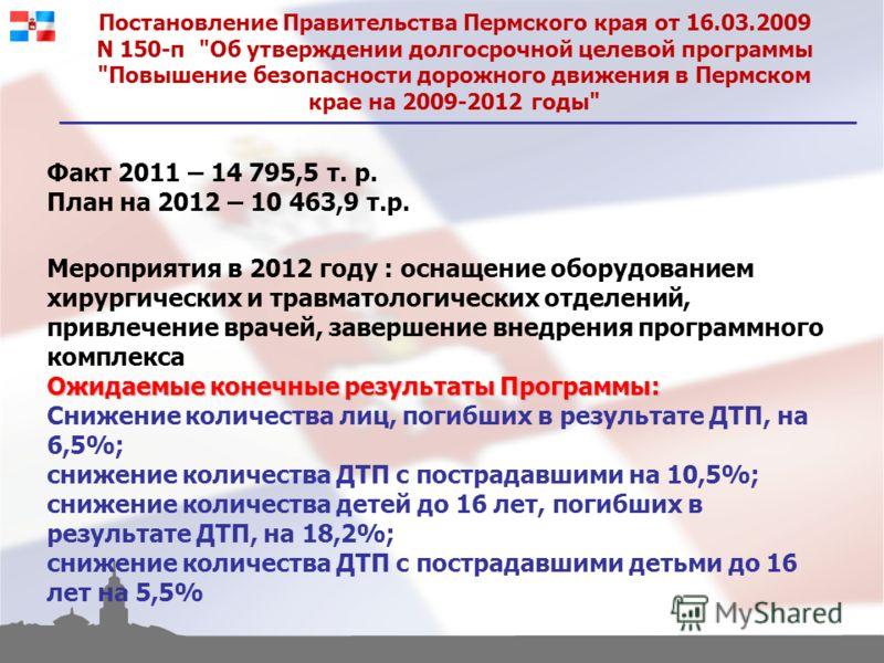 Постановление Правительства Пермского края от 16.03.2009 N 150-п