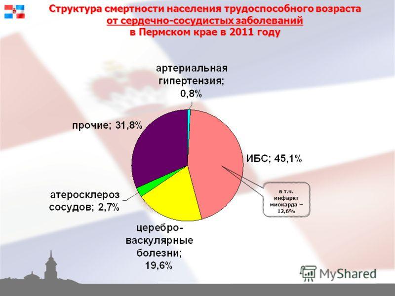 Структура смертности населения трудоспособного возраста от сердечно-сосудистых заболеваний в Пермском крае в 2011 году в т.ч. инфаркт миокарда – 12,6%