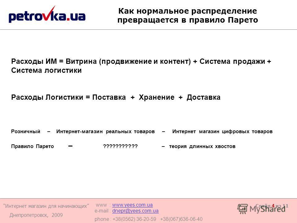 Интернет магазин для начинающих Днепропетровск, 2009 www : www.yees.com.uawww.yees.com.ua e-mail : dnepr@yees.com.uadnepr@yees.com.ua phone : +38(0562) 36-20-59 +38(067)636-06-40 Слайд 4 из 11 Как нормальное распределение превращается в правило Парет