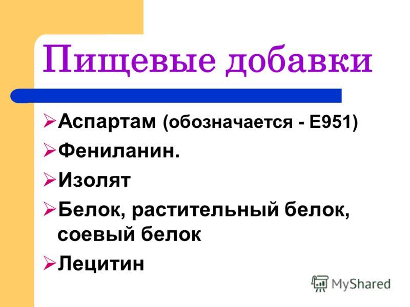Пищевые добавки Аспартам (обозначается - Е951) Фениланин. Изолят Белок, растительный белок, соевый белок Лецитин