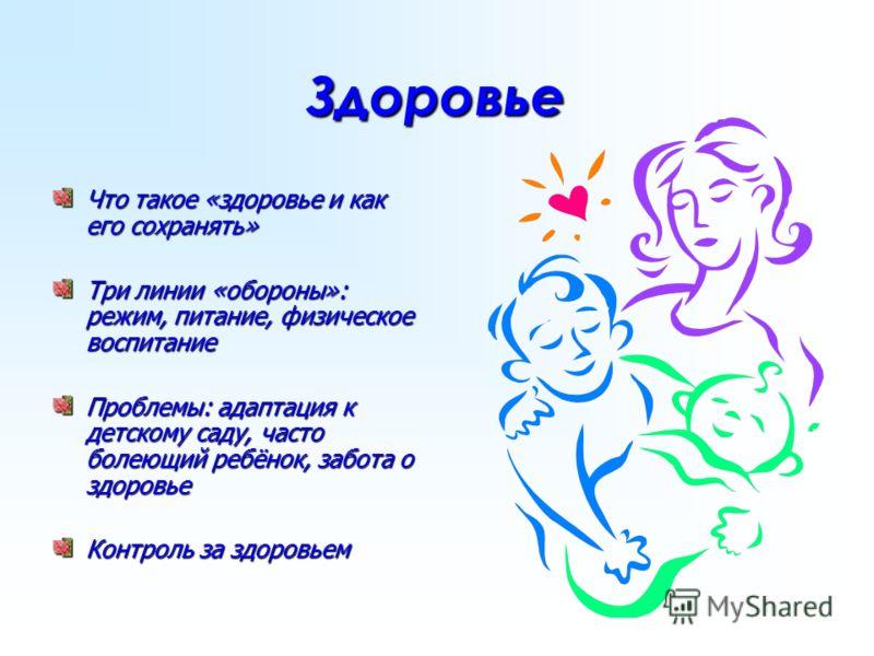 Здоровье Что такое «здоровье и как его сохранять» Три линии «обороны»: режим, питание, физическое воспитание Проблемы: адаптация к детскому саду, часто болеющий ребёнок, забота о здоровье Контроль за здоровьем