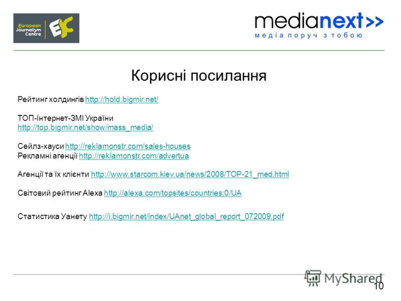 Корисні посилання 10 Рейтинг холдингів http://hold.bigmir.net/ ТОП-Інтернет-ЗМІ України http://top.bigmir.net/show/mass_media/ Сейлз-хауси http://reklamonstr.com/sales-houses Рекламні агенції http://reklamonstr.com/advertua Агенції та їх клієнти http