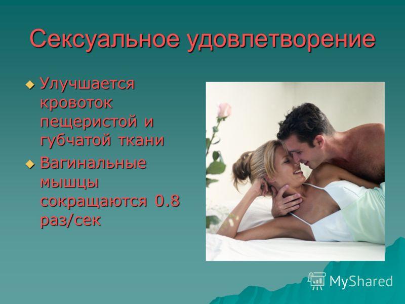 Сексуальное удовлетворение Улучшается кровоток пещеристой и губчатой ткани Улучшается кровоток пещеристой и губчатой ткани Вагинальные мышцы сокращаются 0.8 раз/сек Вагинальные мышцы сокращаются 0.8 раз/сек