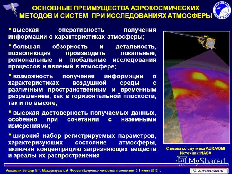 Академик Бондур В.Г. Международный Форум «Здоровье человека и экология» 3-4 июля 2012 г. © высокая оперативность получения информации о характеристиках атмосферы; большая обзорность и детальность, позволяющая производить локальные, региональные и гло