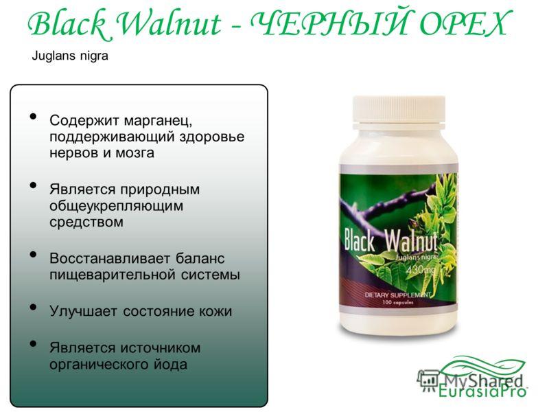 Black Walnut - ЧЕРНЫЙ ОРЕХ Juglans nigra Содержит марганец, поддерживающий здоровье нервов и мозга Является природным общеукрепляющим средством Восстанавливает баланс пищеварительной системы Улучшает состояние кожи Является источником органического й