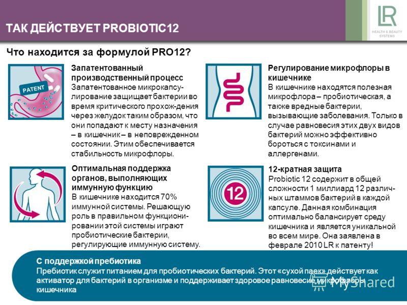ТАК ДЕЙСТВУЕТ PROBIOTIC12 Запатентованный производственный процесс Запатентованное микрокапсу- лирование защищает бактерии во время критического прохож-дения через желудок таким образом, что они попадают к месту назначения – в кишечник – в неповрежде