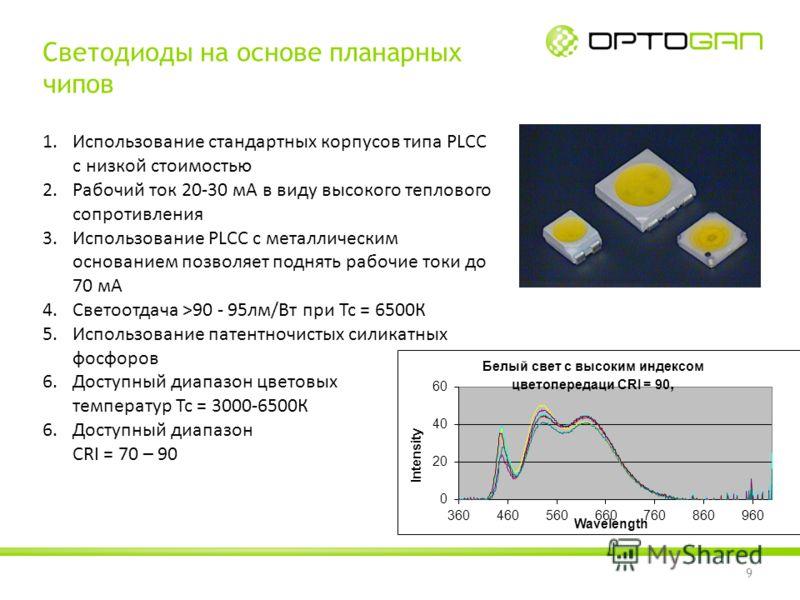 9 Светодиоды на основе планарных чипов 1.Использование стандартных корпусов типа PLCC с низкой стоимостью 2.Рабочий ток 20-30 мА в виду высокого теплового сопротивления 3.Использование PLCC c металлическим основанием позволяет поднять рабочие токи до