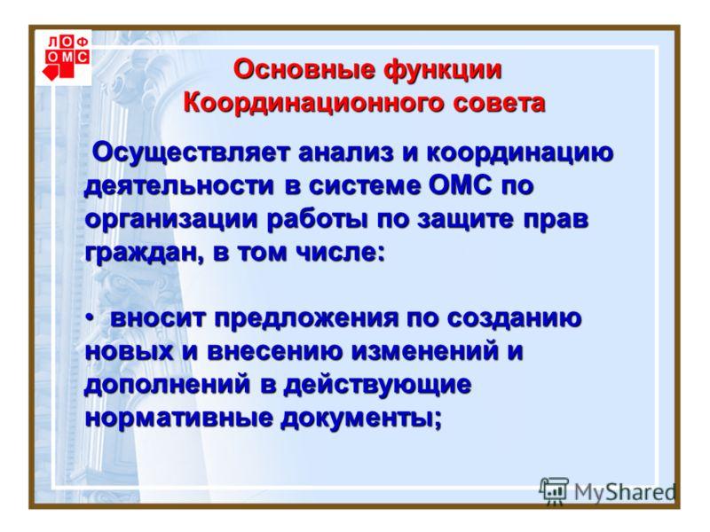 Основные функции Координационного совета Основные функции Координационного совета Осуществляет анализ и координацию деятельности в системе ОМС по организации работы по защите прав граждан, в том числе: Осуществляет анализ и координацию деятельности в