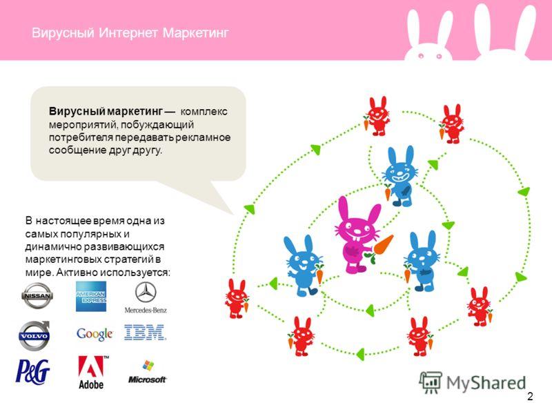 Вирусный Интернет Маркетинг Вирусный маркетинг комплекс мероприятий, побуждающий потребителя передавать рекламное сообщение друг другу. В настоящее время одна из самых популярных и динамично развивающихся маркетинговых стратегий в мире. Активно испол