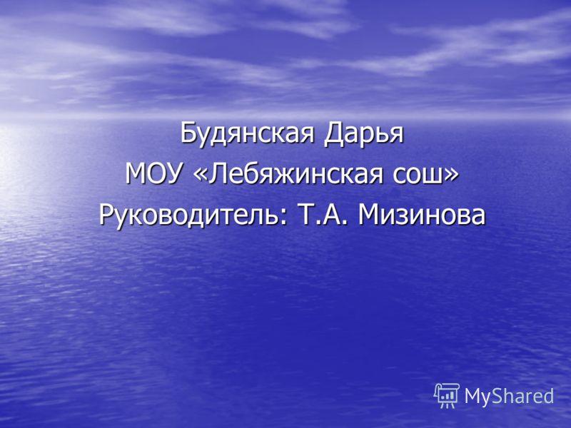Будянская Дарья МОУ «Лебяжинская сош» Руководитель: Т.А. Мизинова