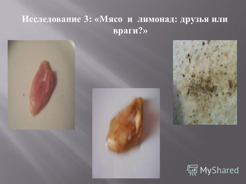 Исследование 3: « Мясо и лимонад : друзья или враги ?»