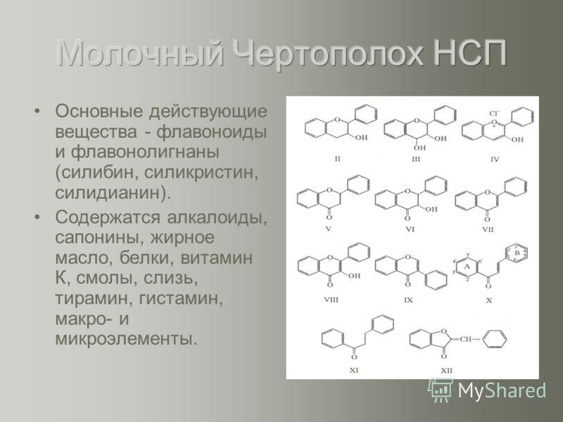 Основные действующие вещества - флавоноиды и флавонолигнаны (силибин, силикристин, силидианин). Содержатся алкалоиды, сапонины, жирное масло, белки, витамин К, смолы, слизь, тирамин, гистамин, макро- и микроэлементы.
