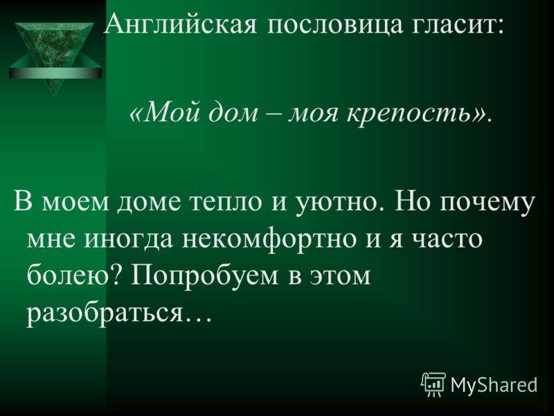 Английская пословица гласит: «Мой дом – моя крепость». В моем доме тепло и уютно. Но почему мне иногда некомфортно и я часто болею? Попробуем в этом разобраться…