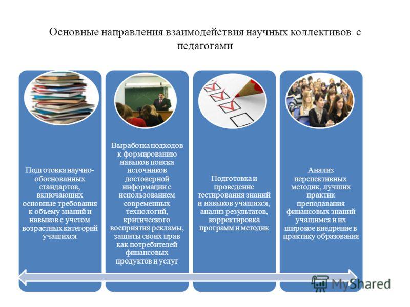Основные направления взаимодействия научных коллективов с педагогами Подготовка научно- обоснованных стандартов, включающих основные требования к объему знаний и навыков с учетом возрастных категорий учащихся Выработка подходов к формированию навыков