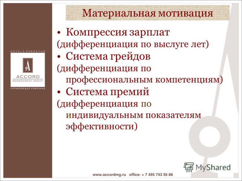 Компрессия зарплат (дифференциация по выслуге лет) Система грейдов (дифференциация по профессиональным компетенциям) Система премий (дифференциация по индивидуальным показателям эффективности) Материальная мотивация