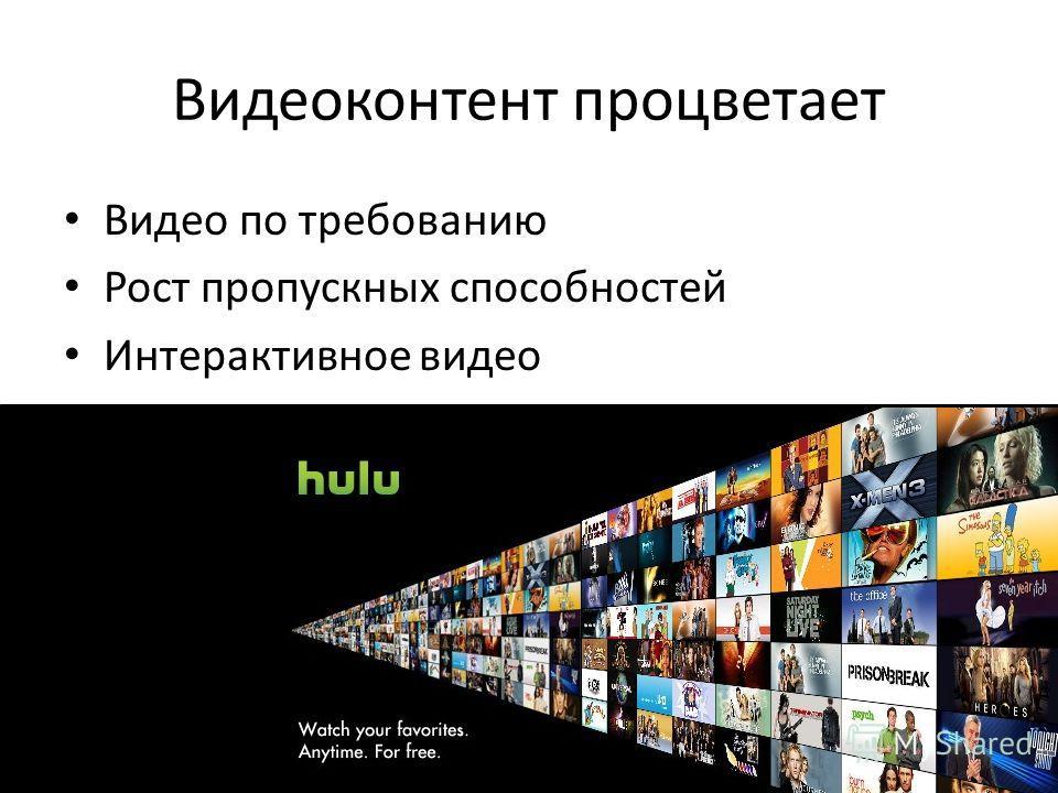 Видеоконтент процветает Видео по требованию Рост пропускных способностей Интерактивное видео