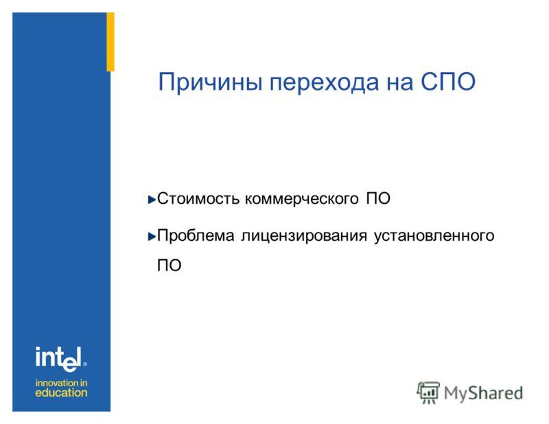 Причины перехода на СПО Стоимость коммерческого ПО Проблема лицензирования установленного ПО