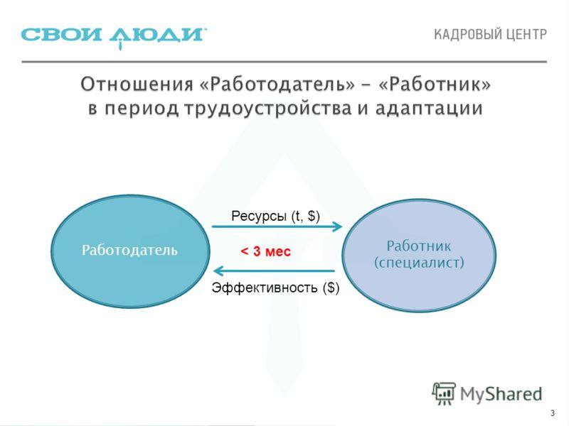 3 Работодатель Работник (специалист) Ресурсы (t, $) Эффективность ($) < 3 мес