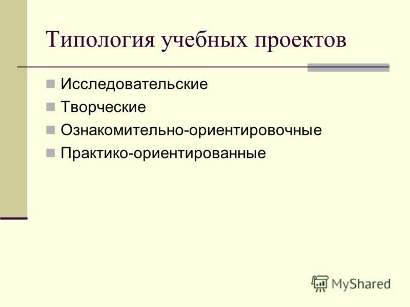 Типология учебных проектов Исследовательские Творческие Ознакомительно-ориентировочные Практико-ориентированные