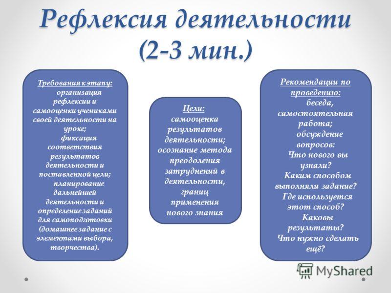 Рефлексия деятельности (2-3 мин.) Требования к этапу: организация рефлексии и самооценки учениками своей деятельности на уроке; фиксация соответствия результатов деятельности и поставленной цели; планирование дальнейшей деятельности и определение зад