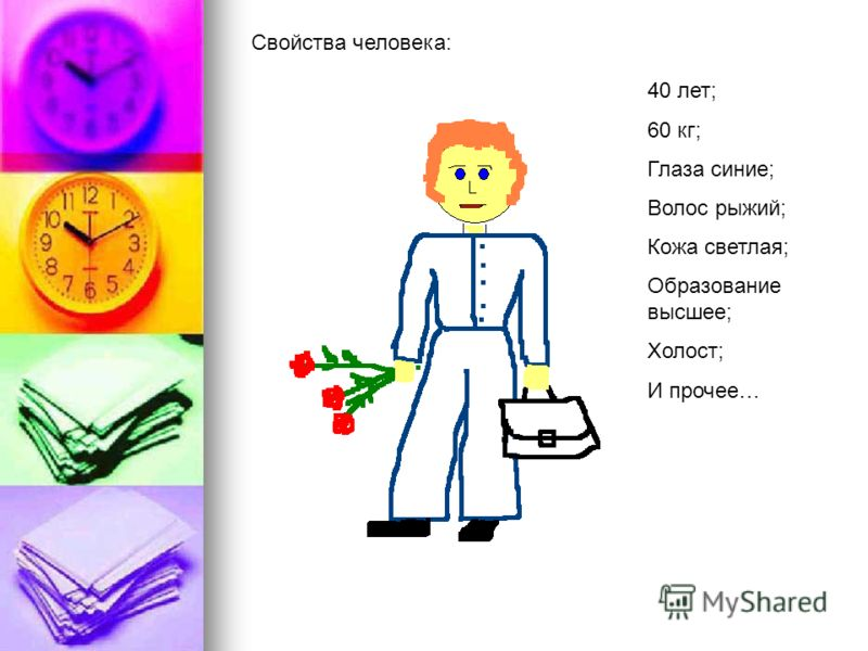 Свойства человека: 40 лет; 60 кг; Глаза синие; Волос рыжий; Кожа светлая; Образование высшее; Холост; И прочее…