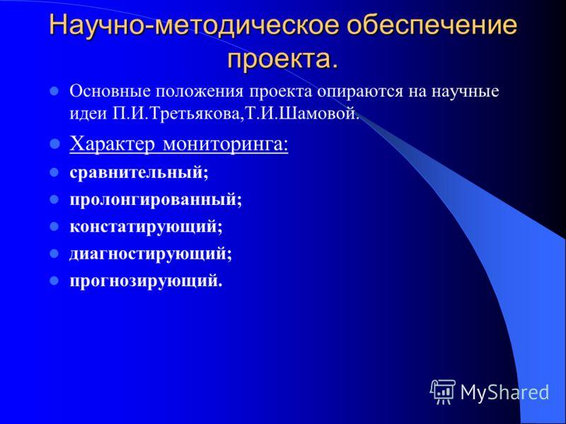 Научно-методическое обеспечение проекта. Основные положения проекта опираются на научные идеи П.И.Третьякова,Т.И.Шамовой. Характер мониторинга: сравнительный; пролонгированный; констатирующий; диагностирующий; прогнозирующий.