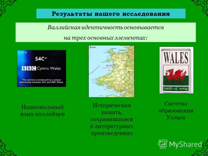 Результаты нашего исследования Валлийская идентичность основывается на трех основных элементах: Историческая память, сохранившаяся в литературных произведениях Национальный язык валлийцев Система образования Уэльса
