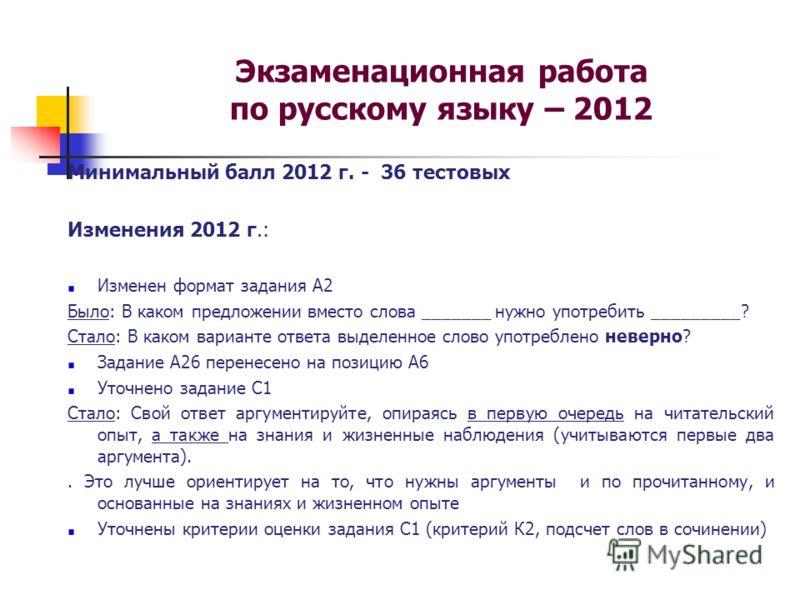 Экзаменационная работа по русскому языку – 2012 Минимальный балл 2012 г. - 36 тестовых Изменения 2012 г.: Изменен формат задания А2 Было: В каком предложении вместо слова _______ нужно употребить _________? Стало: В каком варианте ответа выделенное с