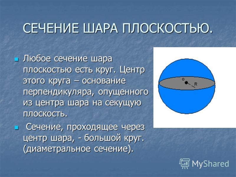 СЕЧЕНИЕ ШАРА ПЛОСКОСТЬЮ. Любое сечение шара плоскостью есть круг. Центр этого круга – основание перпендикуляра, опущенного из центра шара на секущую плоскость. Любое сечение шара плоскостью есть круг. Центр этого круга – основание перпендикуляра, опу