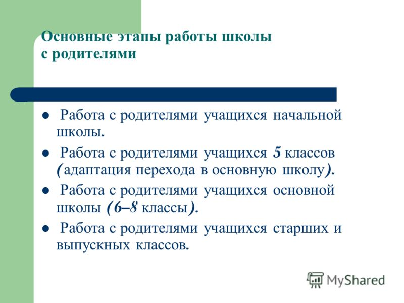 Основные этапы работы школы с родителями Работа с родителями учащихся начальной школы. Работа с родителями учащихся 5 классов ( адаптация перехода в основную школу ). Работа с родителями учащихся основной школы (6–8 классы ). Работа с родителями учащ
