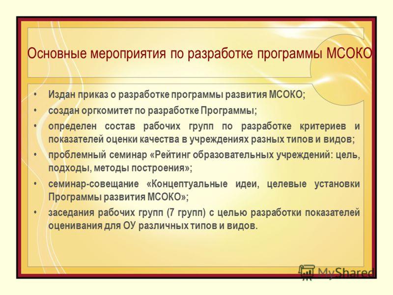 Основные мероприятия по разработке программы МСОКО Издан приказ о разработке программы развития МСОКО; создан оргкомитет по разработке Программы; определен состав рабочих групп по разработке критериев и показателей оценки качества в учреждениях разны