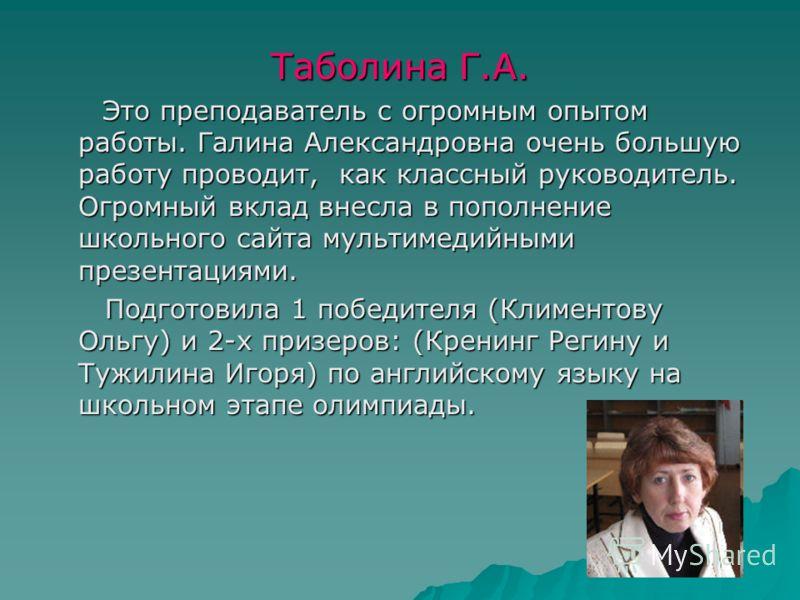 Таболина Г.А. Это преподаватель с огромным опытом работы. Галина Александровна очень большую работу проводит, как классный руководитель. Огромный вклад внесла в пополнение школьного сайта мультимедийными презентациями. Это преподаватель с огромным оп