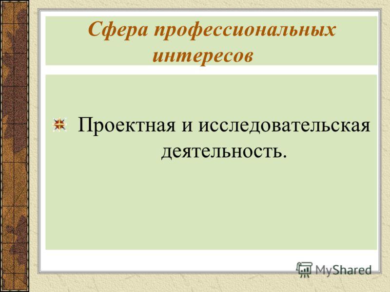 Сфера профессиональных интересов Проектная и исследовательская деятельность.