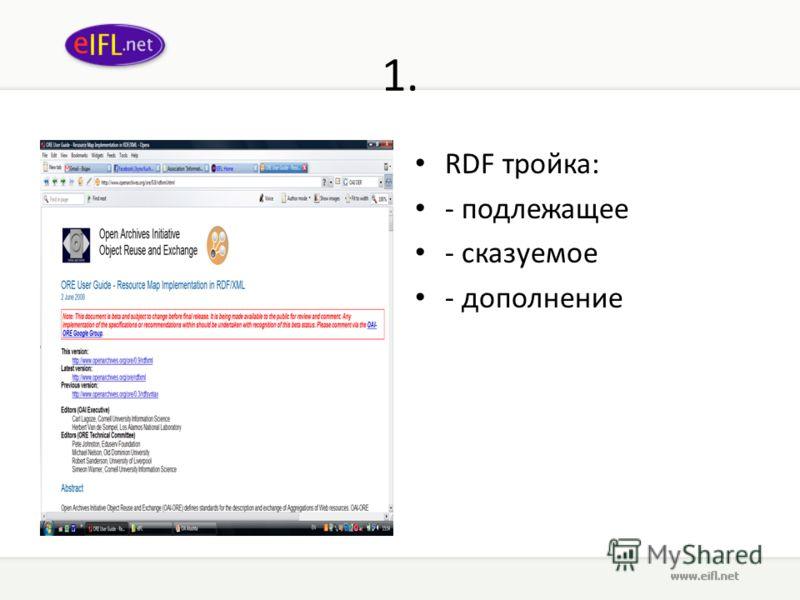 1. RDF тройка: - подлежащее - сказуемое - дополнение