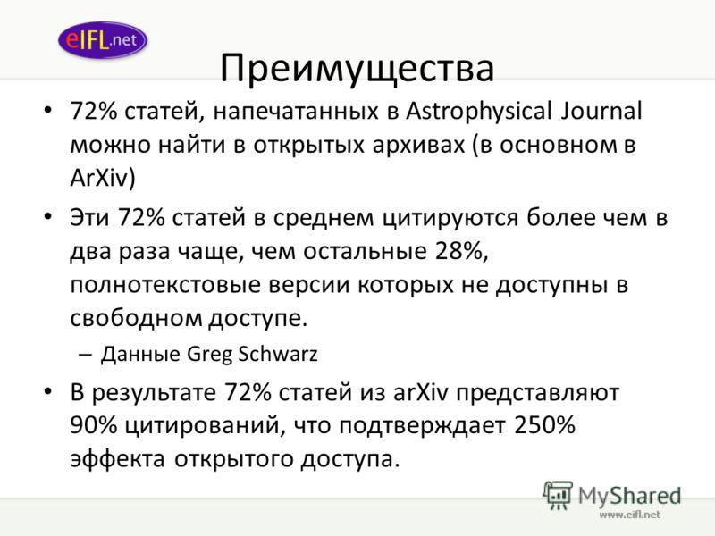 Преимущества 72% статей, напечатанных в Astrophysical Journal можно найти в открытых архивах (в основном в ArXiv) Эти 72% статей в среднем цитируются более чем в два раза чаще, чем остальные 28%, полнотекстовые версии которых не доступны в свободном