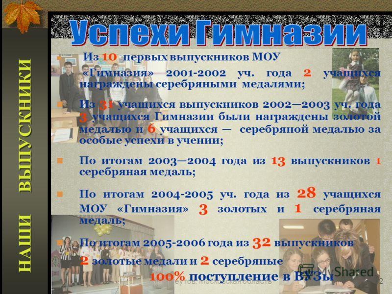 Реутов, Московская область42 Из 10 первых выпускников МОУ «Гимназия» 2001-2002 уч. года 2 учащихся награждены серебряными медалями; Из 31 учащихся выпускников 20022003 уч. года 3 учащихся Гимназии были награждены золотой медалью и 6 учащихся серебрян