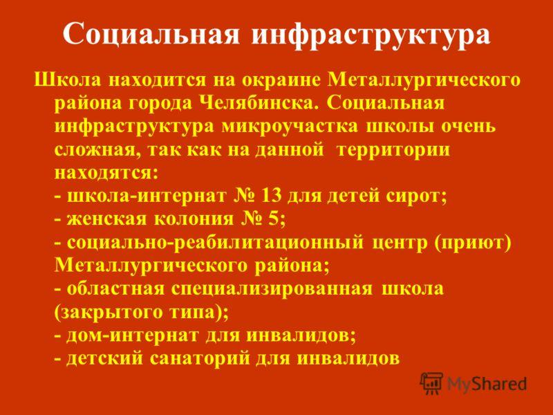 Социальная инфраструктура Школа находится на окраине Металлургического района города Челябинска. Социальная инфраструктура микроучастка школы очень сложная, так как на данной территории находятся: - школа-интернат 13 для детей сирот; - женская колони