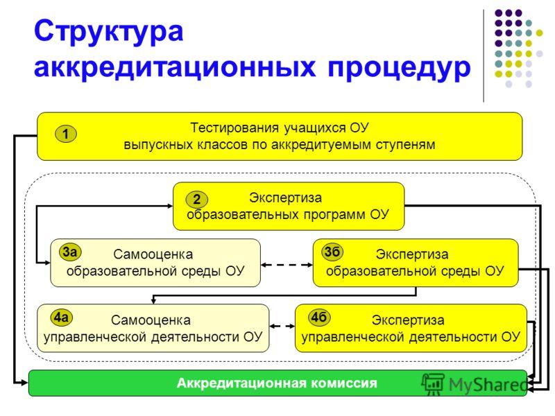 Структура аккредитационных процедур Тестирования учащихся ОУ выпускных классов по аккредитуемым ступеням 1 Экспертиза образовательных программ ОУ 2 Самооценка образовательной среды ОУ 3а Экспертиза образовательной среды ОУ 3б Самооценка управленческо