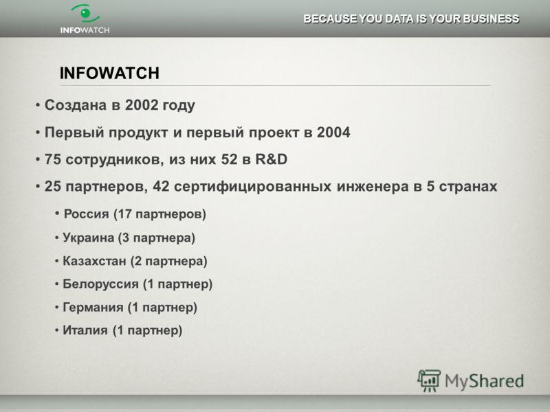 INFOWATCH Создана в 2002 году Первый продукт и первый проект в 2004 75 сотрудников, из них 52 в R&D 25 партнеров, 42 сертифицированных инженера в 5 странах Россия (17 партнеров) Украина (3 партнера) Казахстан (2 партнера) Белоруссия (1 партнер) Герма