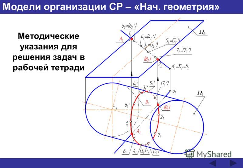 Модели организации СР – «Нач. геометрия» Методические указания для решения задач в рабочей тетради