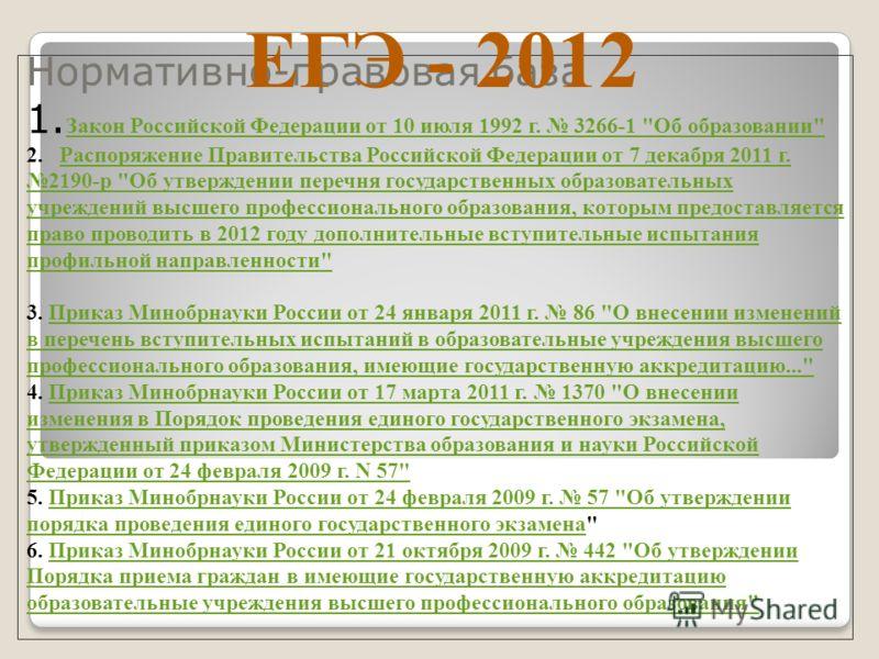 Нормативно-правовая база 1. Закон Российской Федерации от 10 июля 1992 г. 3266-1