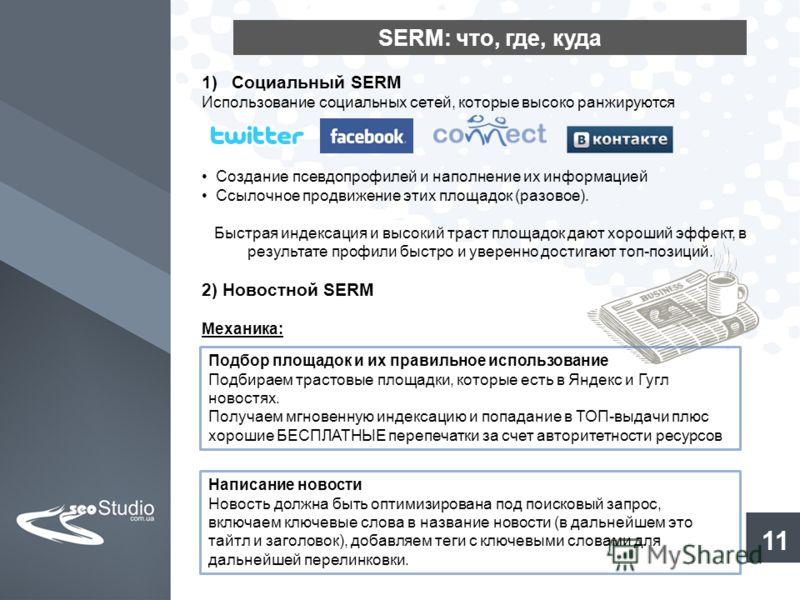 SERM: что, где, куда 11 1)Социальный SERM Использование социальных сетей, которые высоко ранжируются Создание псевдопрофилей и наполнение их информацией Ссылочное продвижение этих площадок (разовое). Быстрая индексация и высокий траст площадок дают х
