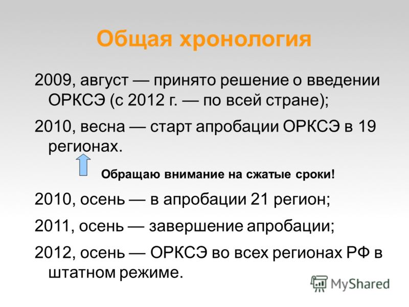 Общая хронология 2009, август принято решение о введении ОРКСЭ (с 2012 г. по всей стране); 2010, весна старт апробации ОРКСЭ в 19 регионах. Обращаю внимание на сжатые сроки! 2010, осень в апробации 21 регион; 2011, осень завершение апробации; 2012, о