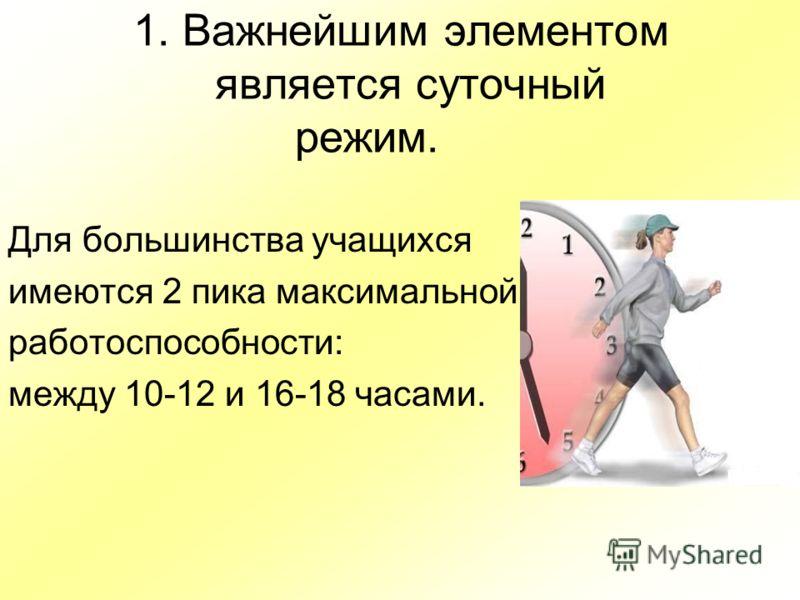 1. Важнейшим элементом является суточный режим. Для большинства учащихся имеются 2 пика максимальной работоспособности: между 10-12 и 16-18 часами.