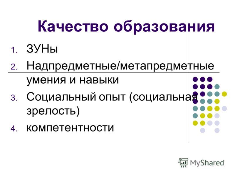 Качество образования 1. ЗУНы 2. Надпредметные/метапредметные умения и навыки 3. Социальный опыт (социальная зрелость) 4. компетентности