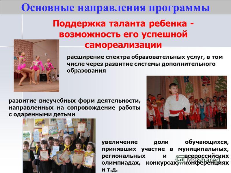 4 Поддержка таланта ребенка - возможность его успешной самореализации Основные направления программы увеличение доли обучающихся, принявших участие в муниципальных, региональных и всероссийских олимпиадах, конкурсах, конференциях и т.д. развитие внеу