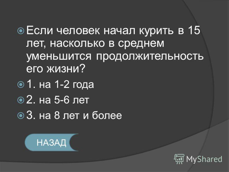 Если человек начал курить в 15 лет, насколько в среднем уменьшится продолжительность его жизни? 1. на 1-2 года 2. на 5-6 лет 3. на 8 лет и более НАЗАД