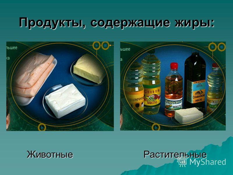 Продукты, содержащие жиры: ЖивотныеРастительные