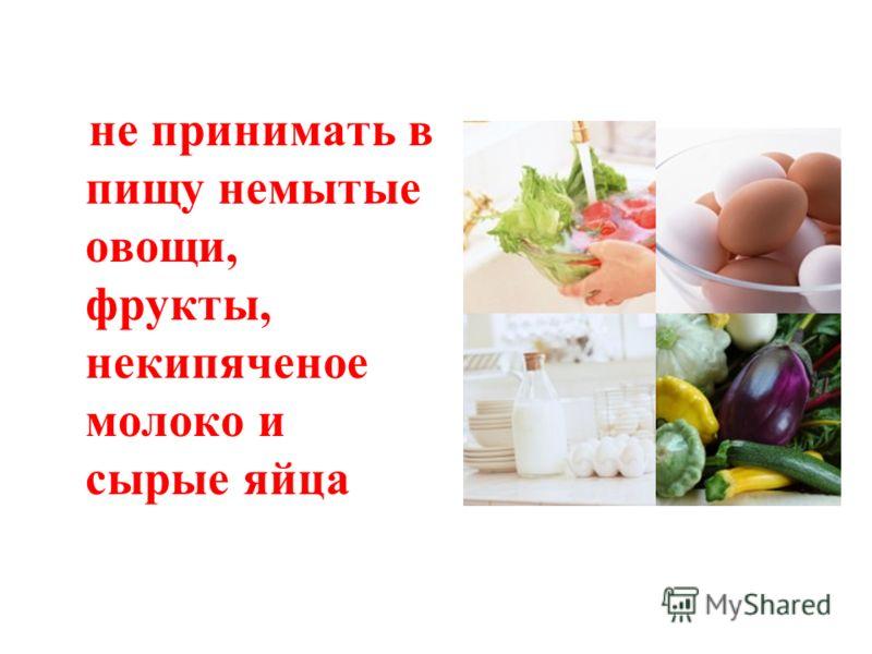 не принимать в пищу немытые овощи, фрукты, некипяченое молоко и сырые яйца
